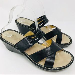 Alegria Leila Black Crackle Wedge Sandal Shoes 40